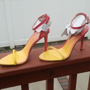 new women's coral & yellow ombre heels...size 7.5